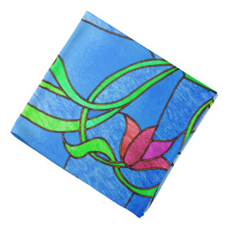 Pink Tulips Stained Glass Look Head Kerchief