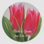 Pink Tulips Wedding Stickers