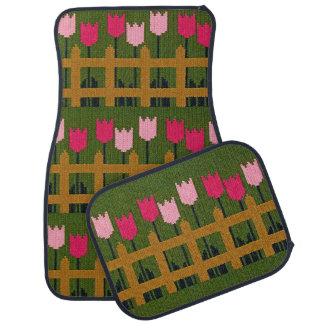 Pink Tulips Wood Fence Green Crochet on Mat Set Floor Mat