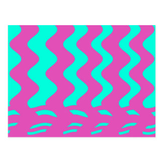 pink turqouise stripes postcard