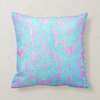 pink turqouise vintage wallpaper damask elegant cushions
