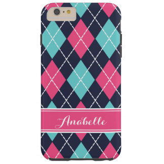 Pink Turquoise and Navy Preppy Argyle Monogram Tough iPhone 6 Plus Case