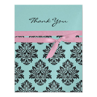 Pink & turquoise baby shower Thank You 4.25x5.5 11 Cm X 14 Cm Invitation Card