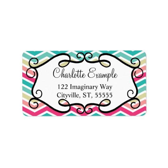 Pink Turquoise Chevron Custom Address Label
