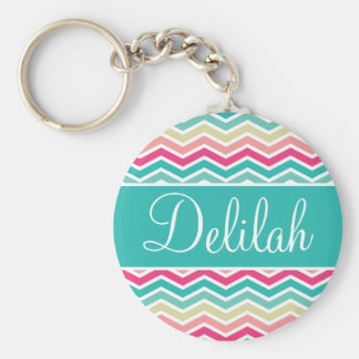Pink Turquoise Chevron Name Key Ring