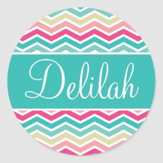 Pink Turquoise Chevron Name Classic Round Sticker