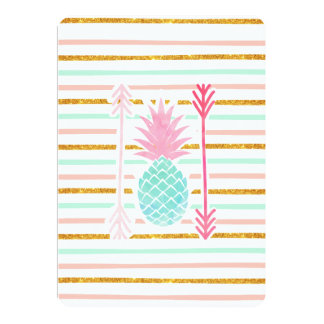 Pink Turquoise Exotic Pineapple Stripes Arrows 13 Cm X 18 Cm Invitation Card