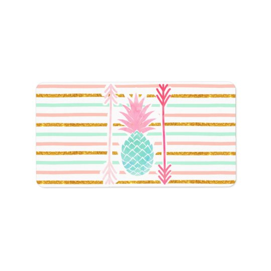 Pink Turquoise Exotic Pineapple Stripes Arrows Address Label
