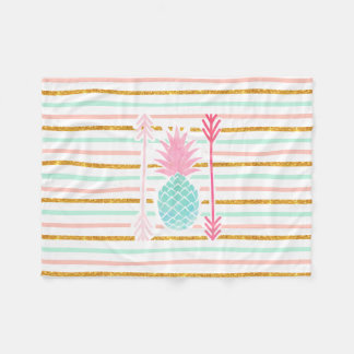 Pink Turquoise Exotic Pineapple Stripes Arrows Fleece Blanket