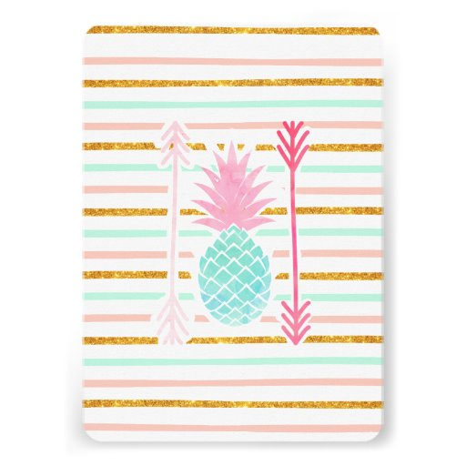 Pink Turquoise Exotic Pineapple Stripes Arrows Invites