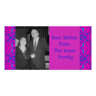 pink turquoise fractal custom photo card