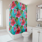 Pink Turquoise Hawaiian Hibiscus Flowers Pattern Shower Curtain
