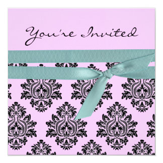 Pink & turquoise linen Twin baby shower invite