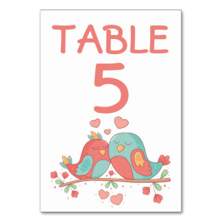 Pink & Turquoise Lovebirds Table Number Wedding