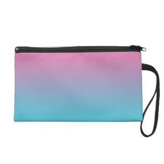 Pink & Turquoise Ombre Wristlet