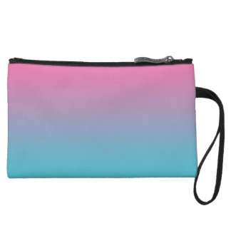 Pink & Turquoise Ombre Wristlet Clutches