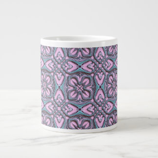 pink turquoise pattern large coffee mug