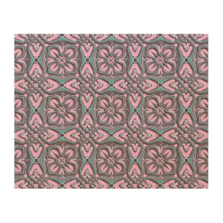Pink turquoise pattern wood canvas