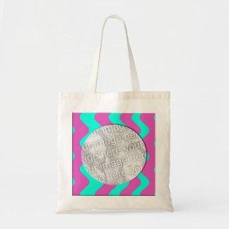 pink turquoise photo frame bag