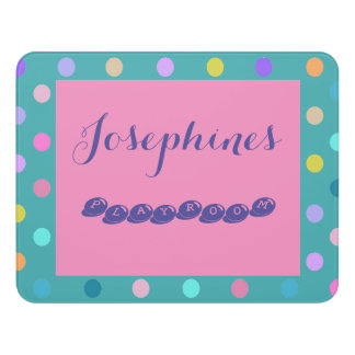Pink, Turquoise, Purple fun adhesive playroom sign