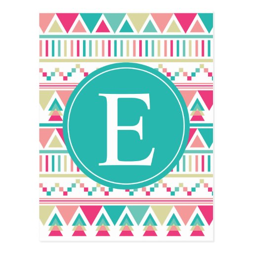 Pink Turquoise Triangle Monogram Post Cards