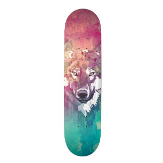 Pink Turquoise Watercolor Artistic Abstract Wolf Skate Board Deck