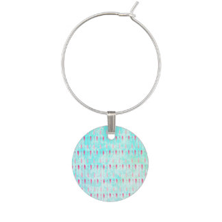 Pink turquoise watercolor modern arrows pattern wine charm