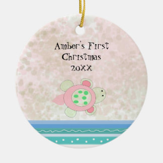 Pink Turtle Baby First Christmas Ceramic Ornament