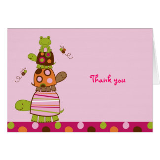 Pink Turtle Frog Thank You Note Cards