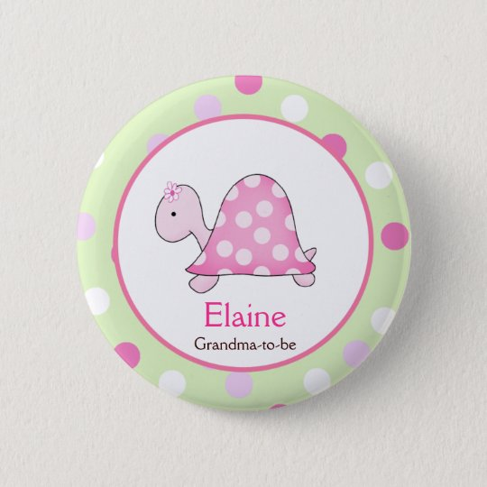 Pink Turtle NAME TAG Custom Button