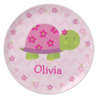 Pink Turtle Personalised Melamine Plate for Kids