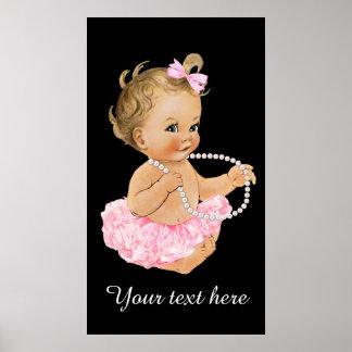 Pink Tutu Baby Ballerina Pearls Baby Shower Poster