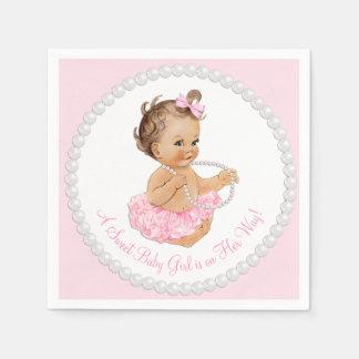 Pink Tutu Ballerina Pearl Baby Shower Disposable Serviette