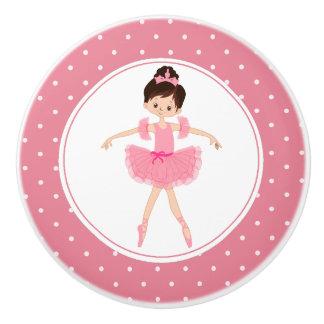 Pink Tutu Ballerina Polka Dot Ceramic Knob