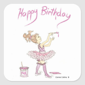 Pink tutu Birthday Sticker