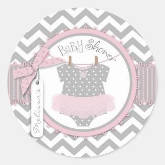 Pink Tutu Chevron Print Baby Shower Round Stickers