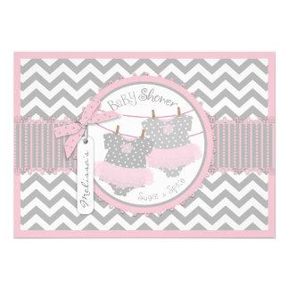 Pink Tutu & Chevron Print Twin Girls Baby Shower Custom Announcements