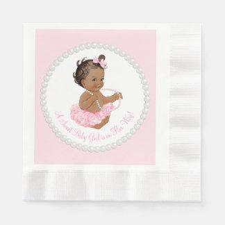 Pink Tutu Ethnic Ballerina Pearl Baby Shower Paper Serviettes