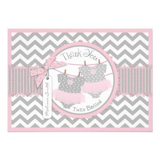 Pink Twin Tutu & Chevron Print Thank You Card