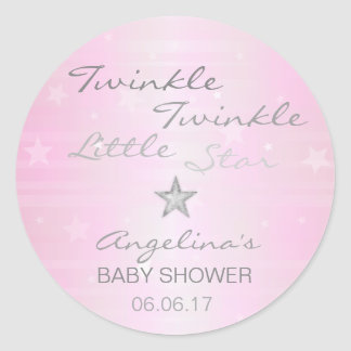 Pink Twinkle Twinkle Little Star Baby Shower Girl Classic Round Sticker