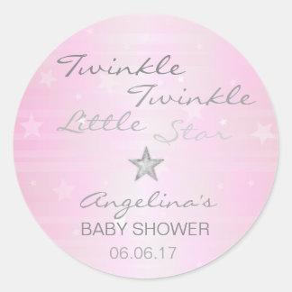 Pink Twinkle Twinkle Twinkle Little Star Baby Girl Round Sticker