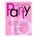 Pink Type Sweet 16 Birthday Party Invitation