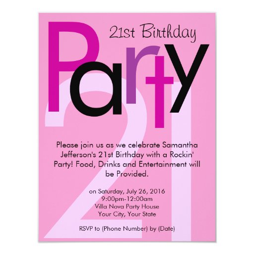 Pink Typeface 21st Birthday Party Invitation