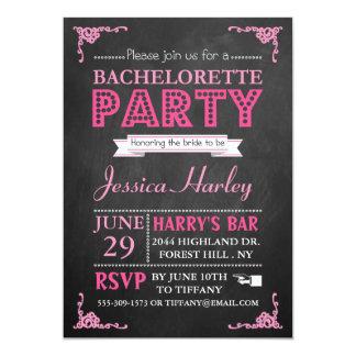 Pink Typography Chalkboard Bachelorette Party 13 Cm X 18 Cm Invitation Card