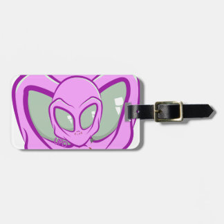 Pink UFO Martian Alien Cute Space Luggage Tag