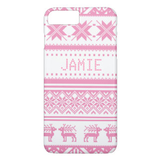 Pink Ugly Christmas Sweater Pattern - Custom iPhone 7 Plus Case