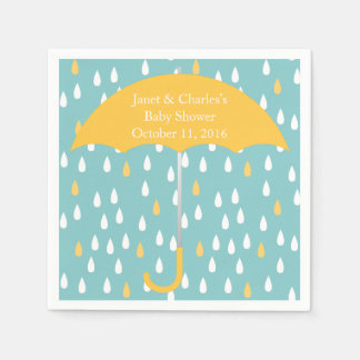 Pink Umbrella and Rain Baby Shower Paper Napkins