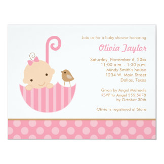 Pink Umbrella Baby Girl Shower Invitations