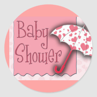 PInk Umbrella Baby Shower - Customized Round Sticker