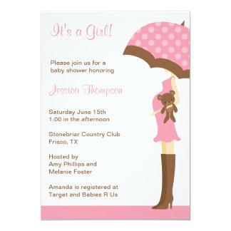 Pink Umbrella Baby Shower invitations